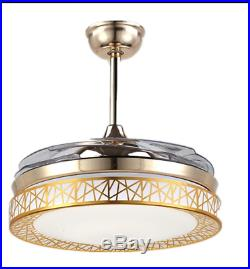 42 Retractable Ceiling Fan Lamp Remote/Bluetooth Control LED Dimming Chandelier