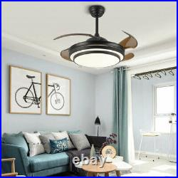 42 Retractable Ceiling Fan Lamp with Light Remote Control LED Chandelier Black US