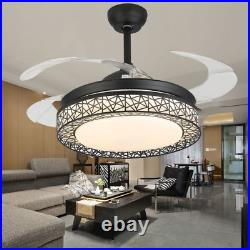 42 Retractable Ceiling Fan Light withBluetooth Music Player Remote LED Chandelier