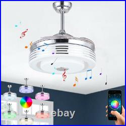 42 Retractable Ceiling Fan withLight and Bluetooth Speaker 7-Color LED Chandelier