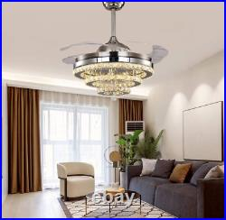 42 Retractable LED 3-Color Change Ceiling Fan Light Crystal Chandelier withremote