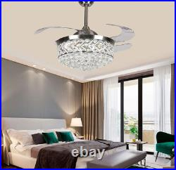 42 Retractable LED Ceiling Fan Light Silver Luxury Crystal Chandelier with remote