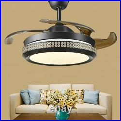 42 Round Ceiling Fan Chandelier Retractable Blade Fan Light withRemote Control