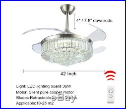 42 Silver Crystal Retractable Ceiling Fan Light LED Remote Control Chandelier