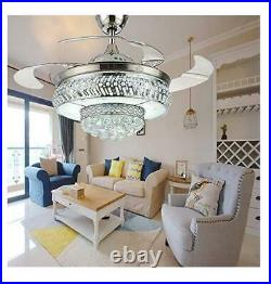 42 Silver Retractable LED Ceiling Fan Light Remote Control Crystal Chandelier