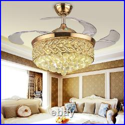 42 inch Crystal LED Ceiling Fan with Light and Remote Control Chandelier Fans