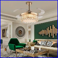 42Ceiling Fan with Lamp Modern Crystal LED Chandelier Remote Retractable Blades