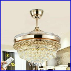42Gold Crystal LED Chandelier Invisible Ceiling Fan Light Ceiling Lamp withRemote