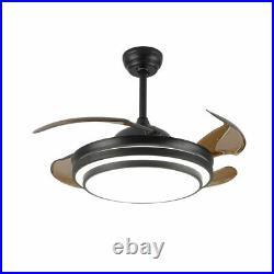 42Inch Dimmable Ceiling Fan Light Chandelier with LED Retractable Blades + Remot