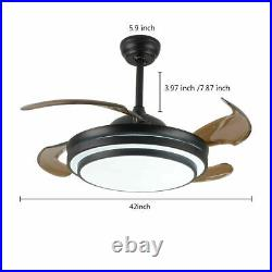 42inch LED Invisible Ceiling Fan Light Dining Room Chandelier Lamp/Remote BLACK
