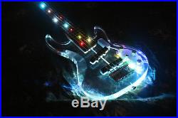 5 Strings Electric Bass Guitar Colorful Led Light Acrylic Body Crystal Guitar
