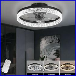 50cm Round LED Ceiling Fan Light Dimmable Chandelier Lamp Fixture Remote Control