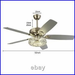52 Modern Crystal Reversible Ceiling Fan Light Indoor Chandelier Lamp with Remote