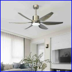 56 Ceiling Fan Light Brushed Nickel Finish with Remote Control Reversible Blades
