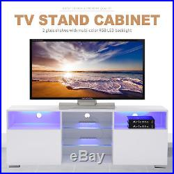 58 High Gloss White LED TV Stand with 2 Doors 2 Shelves Unit Cabinets Console