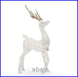 5ft White LED Rudolph reindeer Red Bow Christmas Indoor Outdoor Yard Prop Decor