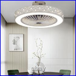 64W Modern LED Ceiling Fan white Round Dimmable Light kit+Remote Control 3 Speed