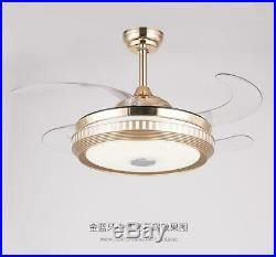 Bluetooth Ceiling Fan Light LED Dimmable Remote Control Retractable Blade Lamp