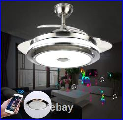 Bluetooth Music Player 42'' Invisible Ceiling Fan Light LED Chandelier Remote