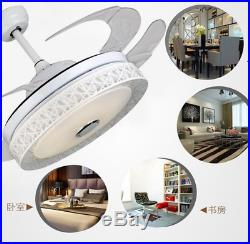 Bluetooth Remote Music Player Ceiling Fan Lamp Dimmable LED Lighting Chandeliers
