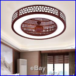 Ceiling Fan LED Ceiling Lamp Solid Wood Dimmable 64W with Remote Control Bedroom