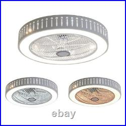 Ceiling Fan Lamp Invisible Acrylic Blade Dimmable LED Chandelier Light with Remote