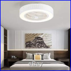Ceiling Fan Light with Remote Control LED Lamp Bedroom Office Modern 110V White