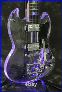 Colorful LED Light Electric Guitar Acrylic Body Maple Neck Mini Swtich