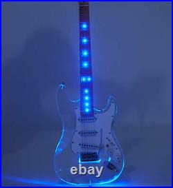 Colorful LED Light ST Style Electric Guitar Acrylic Body 22 Frets Crystal Guitar