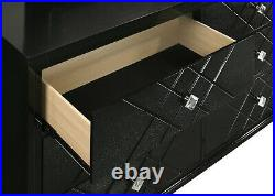 Contemporary Glam 5-Piece Bedroom Set Queen Bed LED Headboard Argyle Pattern