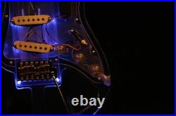 Crystal Electric Guitar Blue Led Acrylic Body Light Skeleton Body Less Weight