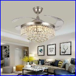 Crystal LED Chandelier Invisible Ceiling Fan Light Ceiling Lamp with Remote