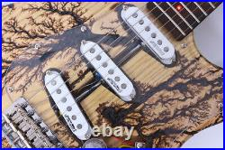 Custom Electric Guitar Ash Body+Flame maple Neck SSS pickup LED Light inlay
