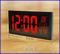 Electronic LED Wall Clock Living Room Thermometer Large Screen Digital Clock