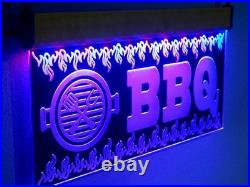 H023 Large Flashing BBQ LED Sign Barbecue Neon Open Light Grill Restaurant Pizza