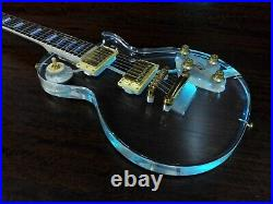 Haze 238P Clear Acrylic See-Thru Electric Guitar withLED Lights +Black Hard Case