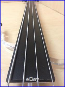 Haze Clear Acrylic Body, Fretless, 4-String Electric Bass Guitar withLEDs+Free Bag