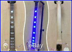 Haze Clear Acrylic See-Thru LP Electric Guitar, LED Lights on Body, Neck+Free Bag