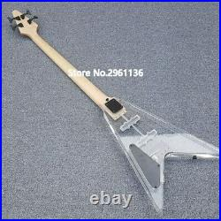 High Quality V-Shaped Electric Bass Guitar 4 String Acrylic Bass With Led Light