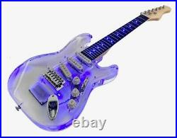 Kids Clear Acrylic Mini Guitar with LED lights in Body and Fretboard