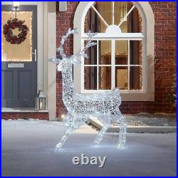 LED 1.4M Christmas Reindeer Snow Decoration Acrylic White Outdoor Garden lights