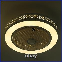 LED Indoor Flush Mount Grid Ceiling Fan Light Dimmable Remote Control 3 Speeds