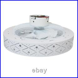 LED Modern Ceiling Fan Light Chandelier Dimmable 3-Speed Enclosed Round Lamps US