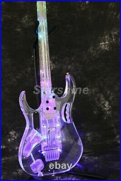 LED ST Electric Guitar Full Acrylic Body&Neck Flower Inlay