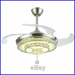 Luxury Crystal Lamp 42Invisible Ceiling Fan Chandelier withLED Light Kit & Remote