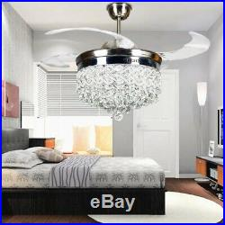 """Silver 42/"""" Crystal Invisible Ceiling Fan Light LED Chandelier Fan Lamp Remote"""