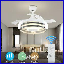 Modern 42 Invisible Ceiling Fans with 3-Color LED Light Fan Chandelier withRemote