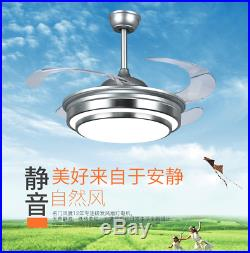 Modern 42 LED Invisible Ceiling Fan Light Dining Room Chandelier Lamp+Remote