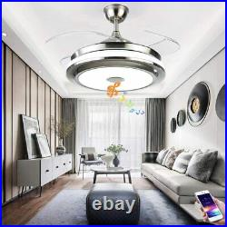 Modern Bluetooth Invisible Ceiling Fan LED Light Music Player Chandelier 36/42