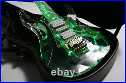 NEW LED Light Electric Guitar Full Acrylic Body&Neck Crystal Guitar Green Color